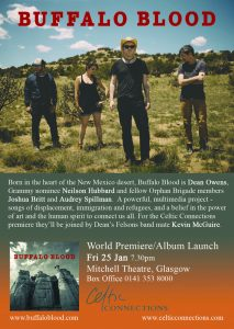 Flier advertising Buffalo Blood performance at Celtic Connections, 25 Jan 2019